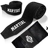 Boxbandagen von MARTIAL (3m) mit bestem Klett und Daumenschlaufe. Bandagen ohne Ausleiern für MMA, Boxen, Kickboxen & Sparring! Handgelenkbandage schwarz, optimale Schweißaufnahme und Beutel!