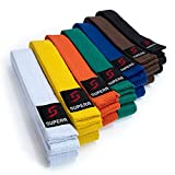 Supera Kampfsport Gürtel Längen. Karate Gürtel aus extra dickem Stoff. Taekwondo Gürtel für Kinder und Erwachsene - Budogürtel, Farbe:gelb, Größe:260 cm