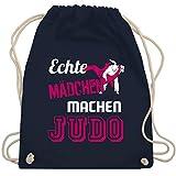 Shirtracer Kampfsport - Echte Mädchen machen Judo - Unisize - Navy Blau - turnbeutel judo - WM110 - Turnbeutel und Stoffbeutel aus Baumwolle