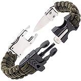 Steinbock7 Survival Armband Herren Accessoires – komplettes Outdoor Survival Kit: Survival Messer, Paracord Armband, Feuerstahl, Pfeife, Armband Verschluss auf 2 Seiten, Knüpfanleitung, Grün
