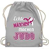 Shirtracer Kampfsport - Echte Mädchen machen Judo - Unisize - Hellgrau - judo turnbeutel - WM110 - Turnbeutel und Stoffbeutel aus Baumwolle