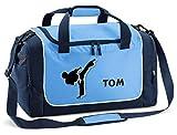 Mein Zwergenland Sporttasche Kinder personalisierbar 38L, Kindersporttasche mit Name und Karate Bedruckt in SkyBlue Blau