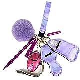 Yeeyf Schlüsselbund-Set, personalisierter Schlüsselbund, Selbstverteidigungs-Schlüsselbund-Set -Enthält Aluminium-Anti-Wolf-Zauberstab-Alarm, Händedesinfektionstasche, Pfeife usw.