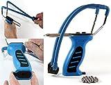 K&B Vertrieb Steinschleuder mit Kugelmagazin BLAU + Ersatzgummi + 90 Stahlkugeln 014 Futterschleuder Sportschleuder Schleuder (1 Stück)