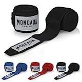 Moncada Fighting® [4m Boxbandagen mit Daumenschlaufe - Bandagen Boxen Halb elastische Boxing Gloves mit extra breitem Klettverschluss - Boxbandage Hand für Boxen, MMA, Kickboxen - Box Bandage Sport