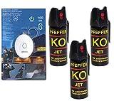 BALLISTOL 3X Verteidigungsspray Pfeffer KO Jet je 50 ml Pfefferspray + gratis Schrill-Alarm mit LED