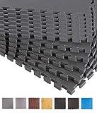 BodenMax Schutzmatte Set Fitness-12 Puzzlematten Bodenschutzmatten | Unterlegmatten | Fitnessmatten für Bodenschutz – Sport, Fitnessraum, Keller schwarz