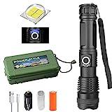 XHP50 LED Taschenlampe, 90000 lumen xhp50.2 leistungsstärkste led taschenlampe usb zoom taschenlampe, teleskop USB zoom wasserdichte camping taschenlampe (FlashlightX + 26650 Batterien + USB-Kabel)