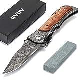 GVDV Taschenmesser mit Spitzer - Klappmesser 7Cr17 Edelstahl-Taktikmesser, Outdoor Survival Messer für Camping Jagd Angeln, mit titanbeschichteter Klinge, Gürtelclip, Sicherheitsverschluss, Holzgriff