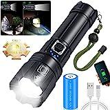 Amzyigou LED Taschenlampe Extrem Hell, XHP70.2 LED 10000 Lumen Taschenlampe Aufladbar, IPX67 Wasserdicht 5 Lichtmodi Zoombar Taktische Taschenlampe, für Camping Wandern und Notfälle (26650 Akku)