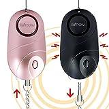 BXROIU 2er Persönlicher Alarm Taschenalarm 140dB Sirene Selbstverteidigung Sicherheit Schlüsselanhänger,(Schwarz+Rosa)