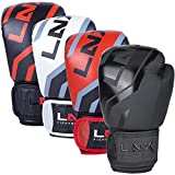LNX Boxhandschuhe Level 5' - 8 10 12 14 16 Oz - perfekt für Kickboxen Boxen Muay Thai K1 MMA Kampfsport UVM Black/Devil red (002) 12 Oz