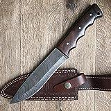 Hobby Hut HH-401, Bushcraft damaststahl Survival Messer, Damastmesser Jagdmesser mit Lederscheide, Extra Scharf, Walnuss Holzgriff, Festehnde and Camping Messer,